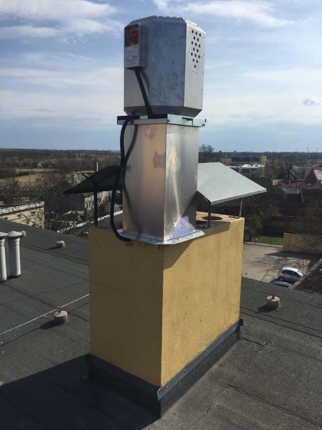 wentylator harmann jednostka zewnętrzna na dachu restauracji